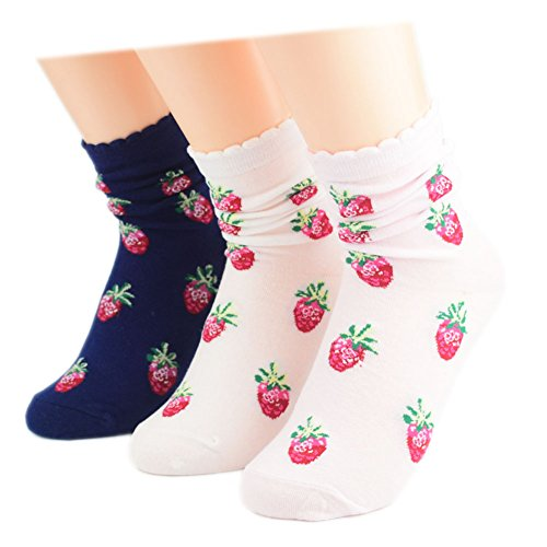 Ziye shop 3 Pairs Women Short Socks Cute Strawberry Design Loose Mouth Frilly Cotton Female Socks
