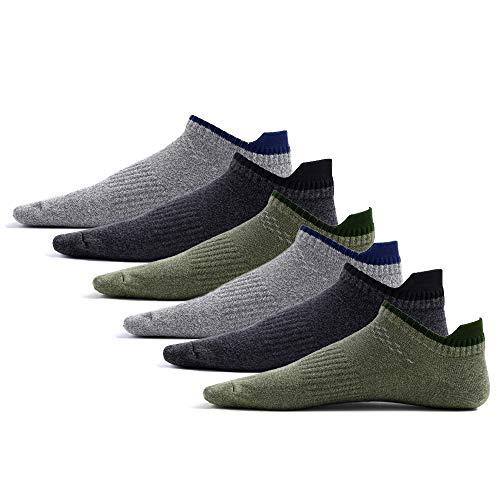 DistrictMaster Sneaker Socken Herren Kurz (6 Paar) Atmungsaktive Baumwolle Sneakersocken Schwarz Grau Grün Socken Herren 43-46