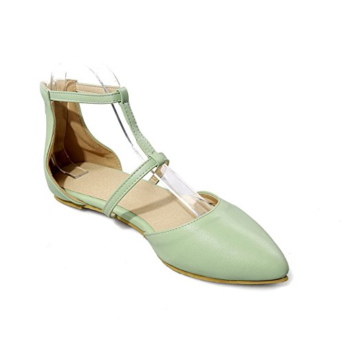 Sandals Solid Toe Lightgreen Closed Low AalarDom PU Heels Buckle Womens OwYqH8