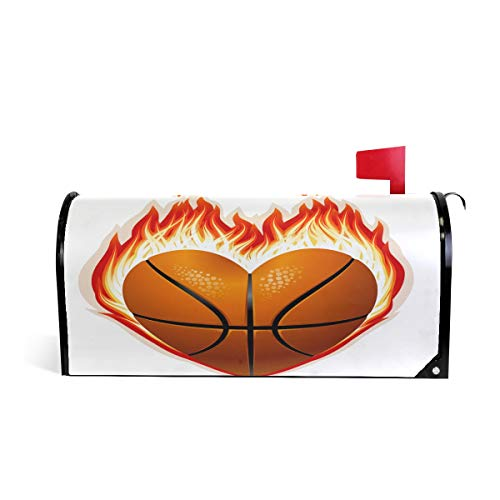 (Magnetic Mailbox Cover Valentines Day Heart with Fire Basketball Mail Wraps Cover Letter Post Box 20.8