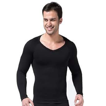 ZEROBODYS Mens Comfortable Compression Body Shaper Long Sleeve V-neck Shirt SS-M04 (M, Black)