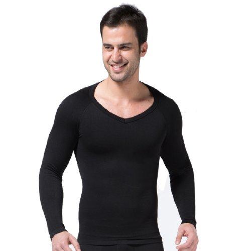 ZEROBODYS Mens Comfortable Compression Body Shaper Long Sleeve V-neck Shirt SS-M04 Black (L) ()