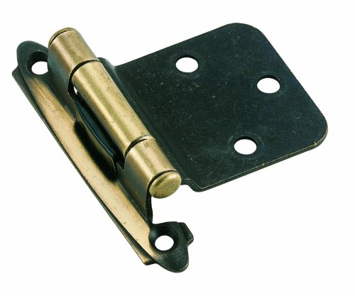 (Amerock BPR7630AE Variable Overlay Self-Closing, Face Mount Antique Brass Hinge - 2 Pack)