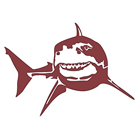 Great White Turning Wall Decal (Dark Red -Facing as Shown- Small) - Saltwater Fish Collection - 1032 Red Kitchen