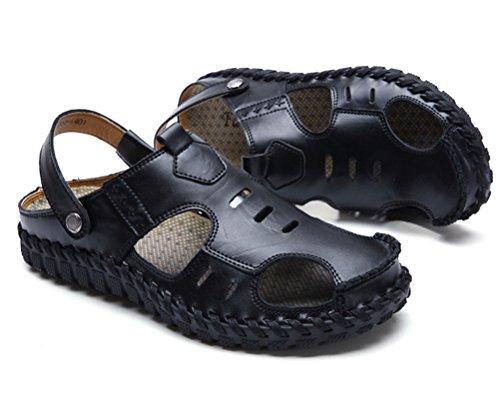 Hombres Libre Deportivas Transpirable Senderismo Playa Aire Negro Pescador los Cuero Sandalias Al Verano Zapatos Casuales dtZYtqw
