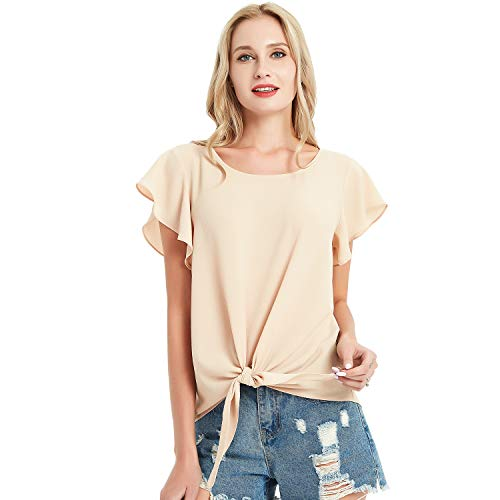 Basic Model Summer Chiffon Blouses for Women Casual Front Knot Shirts Flouncing Sleeve Top Khaki