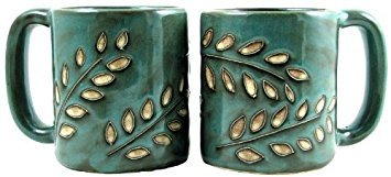 One (1) MARA STONEWARE COLLECTION - 16 Oz Coffee/Tea Cup Collectible Dinner Mugs - Sage Leaves - Mug Coffee Sage