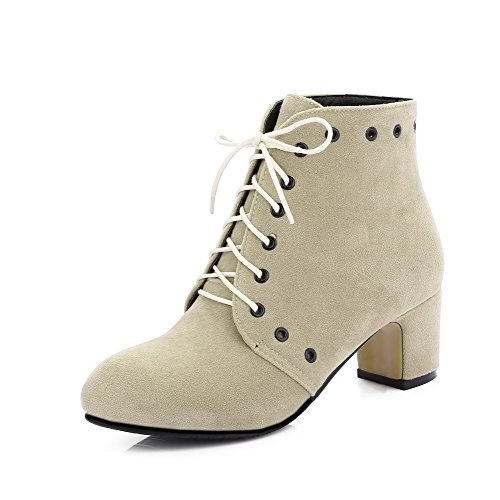 Boots Solid Up Women's Heels Closed Lace Low Round WeiPoot Toe Kitten apricot Top qBwPgHnaa