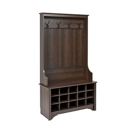 """Atlin Designs Hall Tree with Shoe Storage in Espresso - Finish: Espresso Finished in rich espresso laminate Assembled Dimensions: 38"""" W x 68"""" H x 15.5"""" D - hall-trees, entryway-furniture-decor, entryway-laundry-room - 41 AkOCQ8YL. SS570  -"""