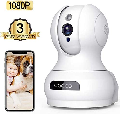 Wireless Camera, 1080P HD WiFi Pet Camera Baby Monitor, Pan Tilt Zoom IP Camera for Elder Nanny Security Cam Night Vision Motion Detection 2-Way Audio Cloud Service Available Webcam White