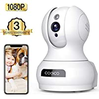 Wireless Camera, 1080P HD WiFi Pet Camera Baby Monitor, Pan/Tilt/Zoom IP Camera for Elder/Nanny Security Cam Night Vision Motion Detection 2-Way Audio Cloud Service Available Webcam White