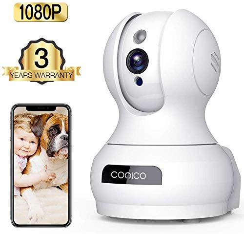 Wireless Camera, 1080P HD WiFi Pet Camera Baby Monitor, Pan/Tilt/Zoom IP Camera for Elder/Nanny Security Cam Night Vision Motion Detection 2-Way Audio Cloud Service Available Webcam White (Best Pc For Audio Recording 2019)