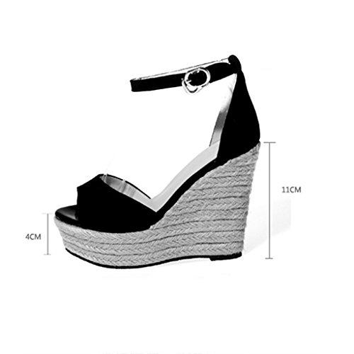 Alta 39 Qingtaoshop Gray Sandalias Boca Suela Para Damas Size De Gray Zapatos Tacones Super cuñas Paja 8cm color Gruesa Plataformas Pescado wwr6RU