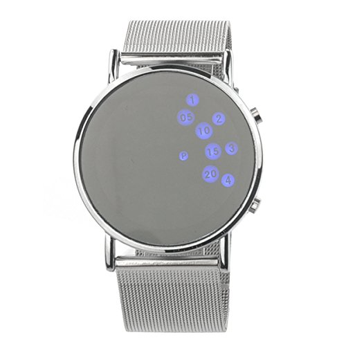 PIXNOR HZ-330 Women's Girls Round Mirror Face Blue LED Digital Wrist Watch - Girls Face Round