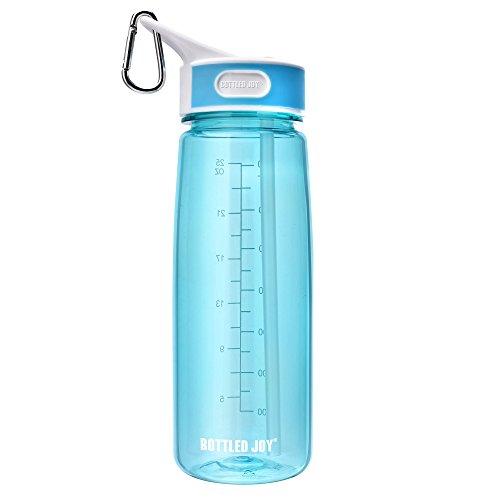 BPA-Free Tritan Sport water bottle, BOTTLED JOY Wide Mouth 27oz 800ml Spill Proof Sip & Handle Leak Proof bottles Blue