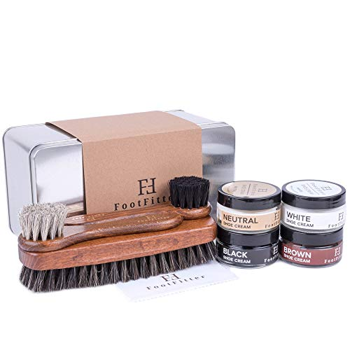 FootFitter Shoe Shine Brush and Polishing Set - (4) Shoe Creams, (3) Horsehair Brushes, (2) Microfiber Shine Cloths, (1) Gift Tin! from FootFitter