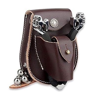 """Kosibate Slingshot Ammo Pouch,Catapult Hunting Case for 3/8"""" 1/2"""" Steel Balls Soft Leather Belt Pocket Bag"""