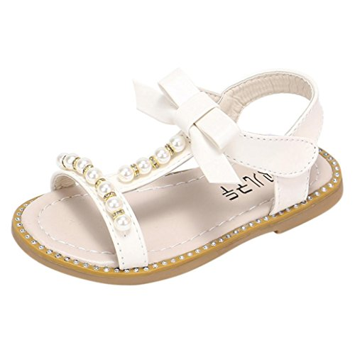 Beaded Flat - Axinke Summer Casual Open Toe Beaded Rhinestone Flat Roman Sandals for Toddler Girls, Littler Girls (10.5 M US Little Kid, White B)