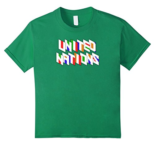 Kids United Nations Colorful Typography UN Day Graphic Tshirt Tee 8 Kelly Green