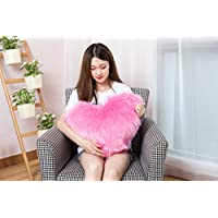 Rally Goods Double Sided Ultra Plush Faux Fur Sheepskin Heart Shape Throw Pillow (16 x 20 inch) with Insert for Adding Accents to Home, Couch, Bedroom, Living Room, Nursery Room