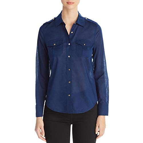 - Tory Burch Womens Brigitte Collared Adjustable Sleeves Button-Down Top Navy 2