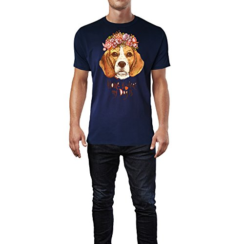 SINUS ART ® Beagle mit Blumenkranz – Home Is Where My Dog Is Herren T-Shirts in Navy Blau Fun Shirt mit tollen Aufdruck