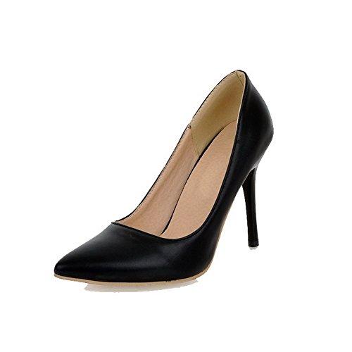VogueZone009 Damen Hoher Absatz Rein Ziehen auf PU Spitz Zehe Pumps Schuhe Schwarz