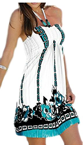 Strap Jaycargogo Short Neck Women V Mini Dress White Printed Halter Casual 00TwAqF