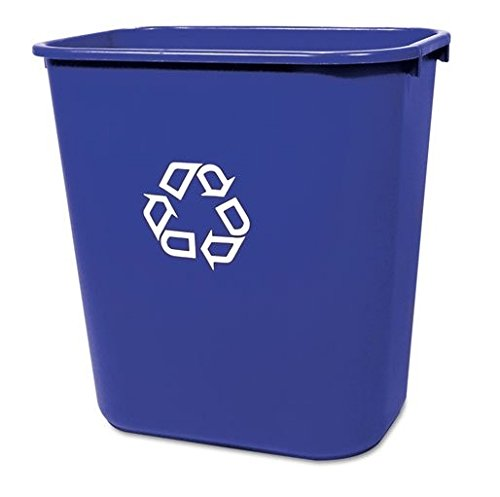 Rubbermaid® Commercial - Medium Deskside Recycling Container, Rectangular, Plastic, 28 1/8 qt, Blue - Sold As 1 Each - Use beside wastebasket. (Recycling Wastebasket)