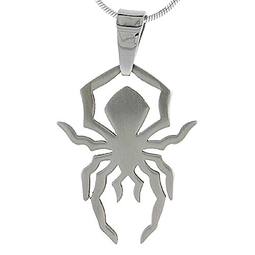 Stainless Steel Spider Necklace 1 1/4 inch tall, w/ 30 inch ()