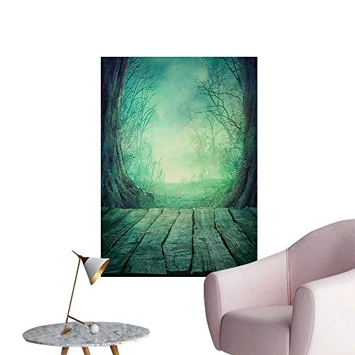 Wall Stickers for Living Room Spooky Scary Dark Fog Dead TRE Wooden Table Halloween Horror Blue Vinyl Wall Stickers Print,28