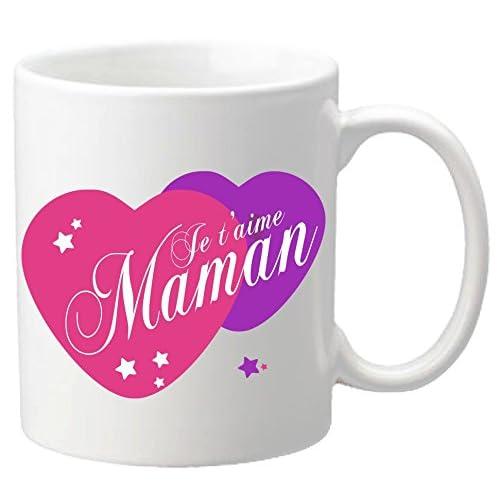 Mug Je t'aime Maman – Cadeau pour la fête des Mères, Noël, Anniversaire, Pâques, Baptême