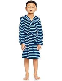 Leveret Kids Boys Fleece Sleep Robe Bathrobe Blue & Navy (6 Years)