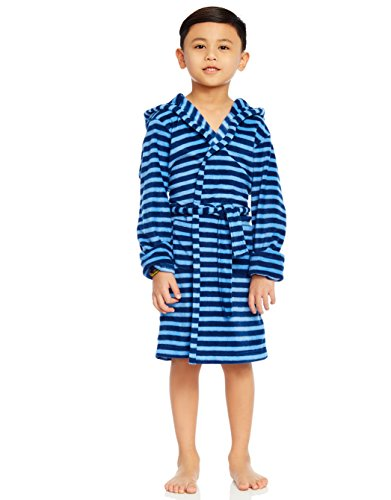 (Leveret Kids Boys Fleece Sleep Robe Bathrobe Blue & Navy (8 Years))