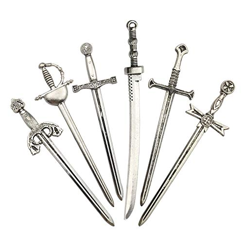 Youdiyla 12pcs Sword Katana Charms Collection, Antique Silver Tone, Mix Samurai Ananta Tachi Knife Stiletto Fencing Metal Toy Pendant Supplies Findings for Jewelry Making (HM183) ()