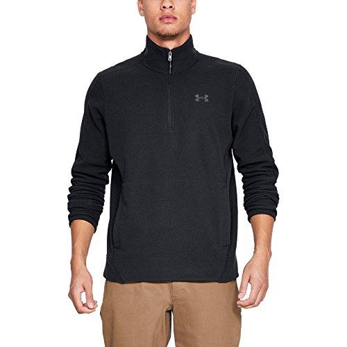 Under Armour Men's Zephyr Fleece Solid 1/4 Zip Sweat Shirt, Black (001)/Graphite, - 1/4 Pullover Sweatshirt Zip Fleece