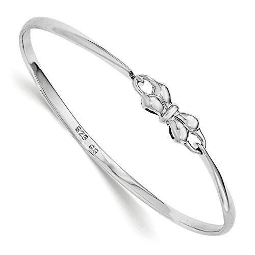 Baby Cuff Bracelet (ICE CARATS 925 Sterling Silver Bow Baby Bangle Bracelet Cuff Expandable Stackable Fine Jewelry Gift Set For Women Heart)