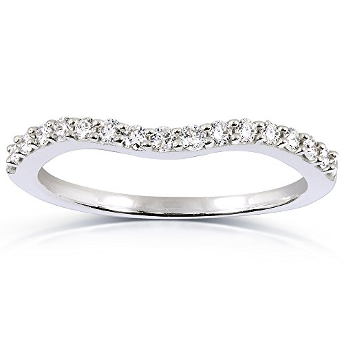 Curved Round Diamond Wedding Band Ring 1/4 Carat (ctw) in 14K White Gold