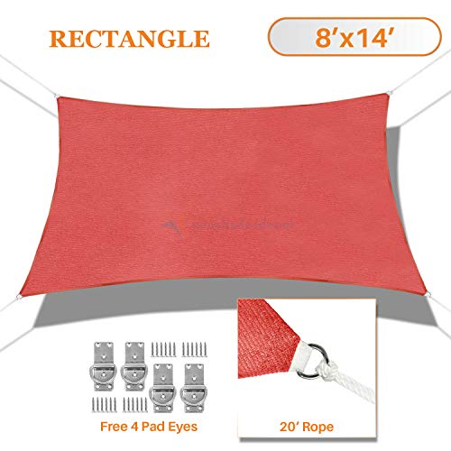 TANG Sunshades Depot 8 x 14 Sun Shade Sail Rectangle 180 GSM HDPE Permeable Curved Edge Canopy Red Custom Commercial Grade Standard