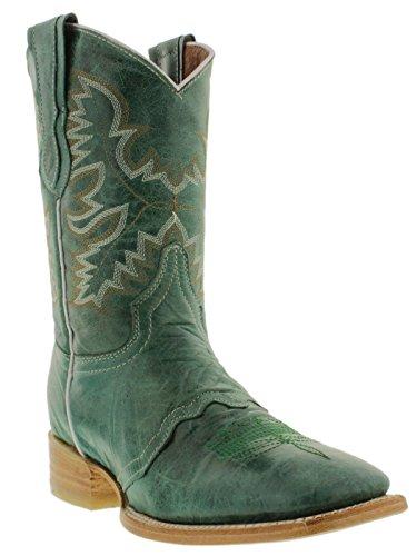 Cowboy Professioneel Dames Turquoise Half Kalfsleer Cowboylaarzen Vierkante Neus Turquoise