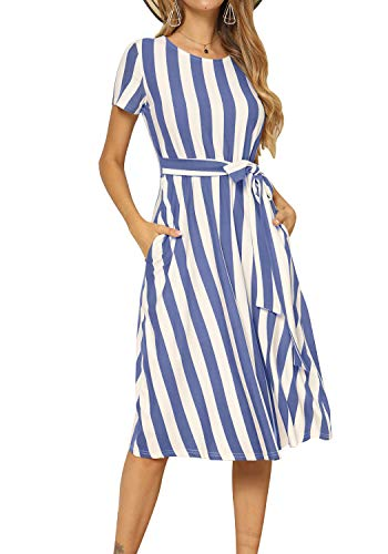 levaca Womens Casual Striped Loose Flowy Belt Tunic Work Midi Dress Light Blue XL