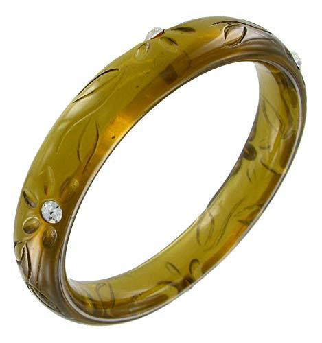 Olive Green Lucite Rhinestone Flower Carved Bangle Bracelet for Women