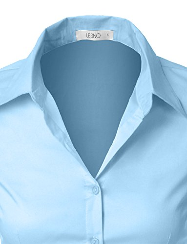 6e900318 Finders | LE3NO Womens Roll Up 3/4 Sleeve Button Down Shirt with Stretch