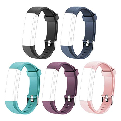 Letsfit Replacement Bands for Fitness Tracker ID115U HR, ID115U HR Accessory Bands, Adjustable Replacement Straps, 5 Pack (Black, Blue, Pink, Purple, Green)