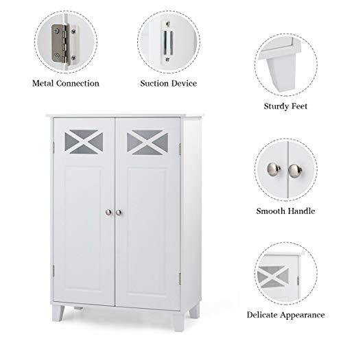 Tangkula Bathroom Floor Cabinet, Double Doors Wooden Free Standing Bathroom Cabinet, Adjustable Shelf Floor Storage Organizer (White) by Tangkula (Image #7)