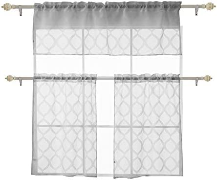 Deconovo-Rod Pocket Panels Jacquard Sheer Cafe 3 Pieces Textured Woven-Kitchen Tier Curtains and Valance, 59×18 29×36 Inch, Grey Waves