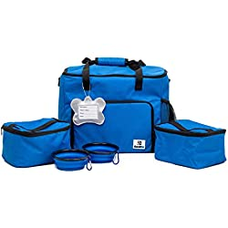 CoziPet Pet Travel Bag Tote for Dog or Cat with 2 Food Carriers and 2 Collapsible Bowls (Blue)