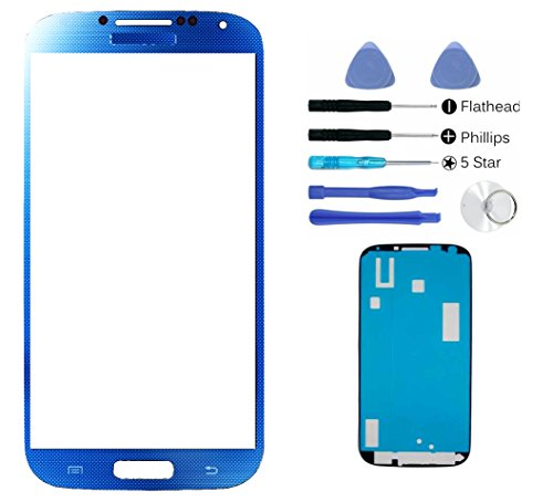 (md0410) Arctic Blue Front Outer Lens Glass Screen Replacement Instruction For Samsung Galaxy S4 SIV i9500 + Adhesive + Tools I337 L720 M919 I545 - Galaxy S4 Screen Replacement Gold