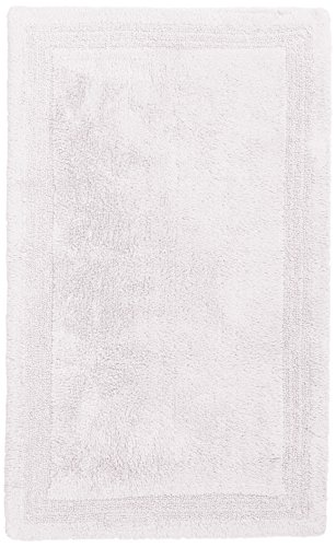 Pinzon Luxury Reversible Cotton Bath Mat - 21 x 34 inch, Whi