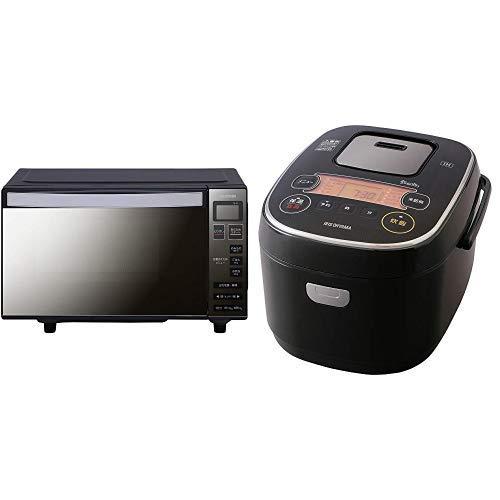 【セット】アイリスオーヤマ 電子レンジ 18L フラットテーブル ヘルツフリー ミラーガラス ブラック MO-FM1804-B & アイリスオーヤマ 炊飯器 IH式 5合 銘柄炊き分け機能付き RC-IE50-B セット